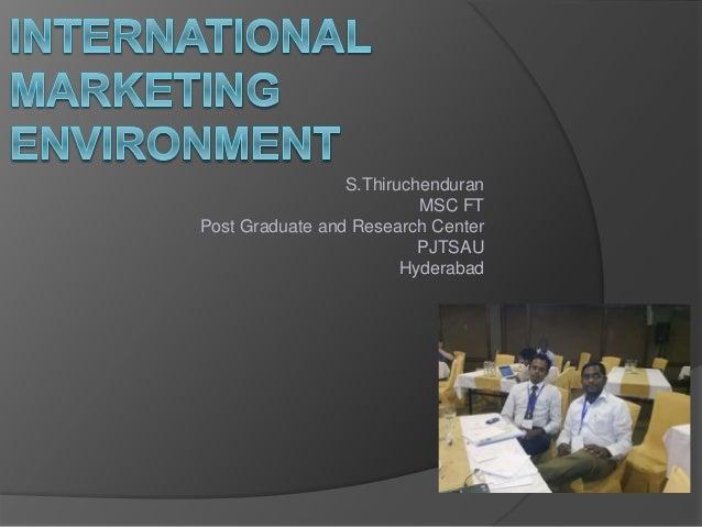 S.Thiruchenduran MSC FT Post Graduate and Research Center PJTSAU Hyderabad
