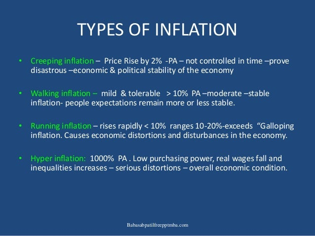 types of inflation Types of inflation: as the nature of inflation is not uniform in an economy for all the time, it is wise to distinguish between different types of inflation such analysis is useful to study the distributional and other effects of inflation as well as to recommend anti-inflationary policies.