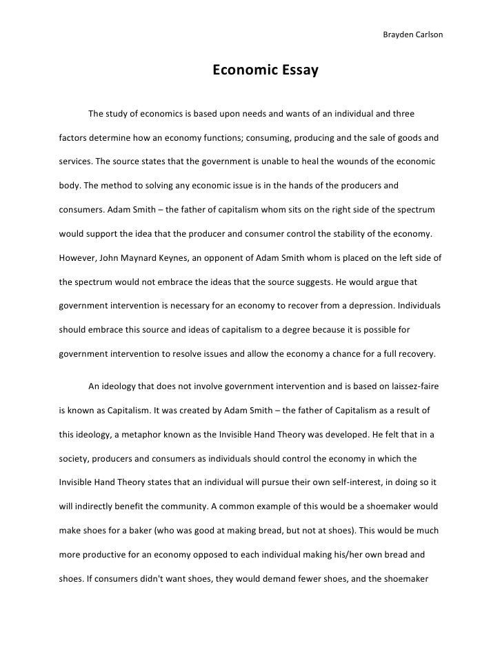 Economic Essay Economic Essaybr The Study Of Economics Is Based Upon Needs And Wants