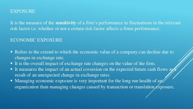 how would you define economic exposure to exchange risk