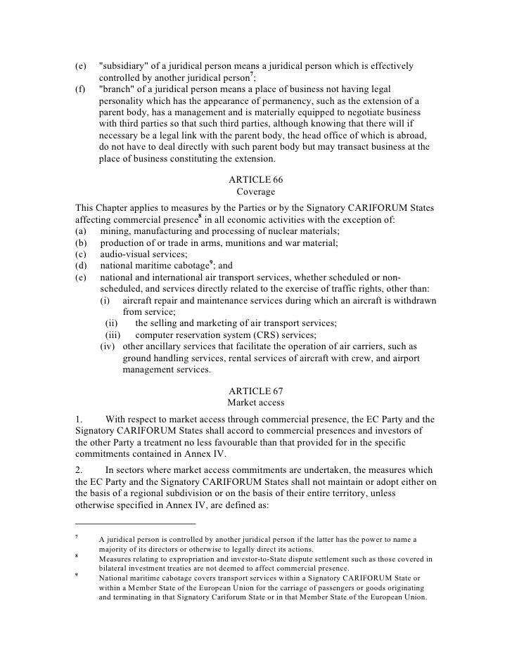 Cariforum Ec Economic Partnership Agreement Epa Text