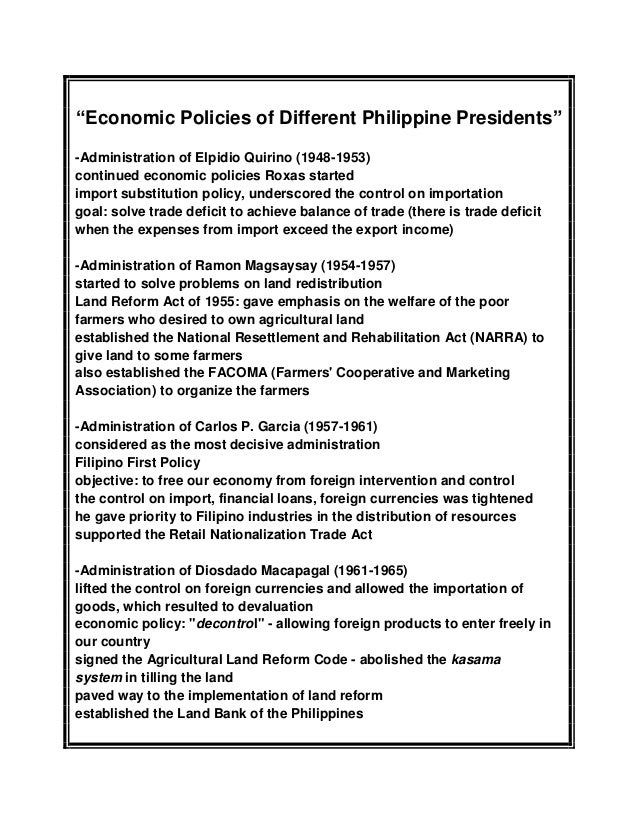 economic policy pf elpidio quirino On november 16, 1890, elpidio quirino, one of the most illustrious sons of ilocos sur who became the sixth president of the philippines, was born on in the town of vigan.