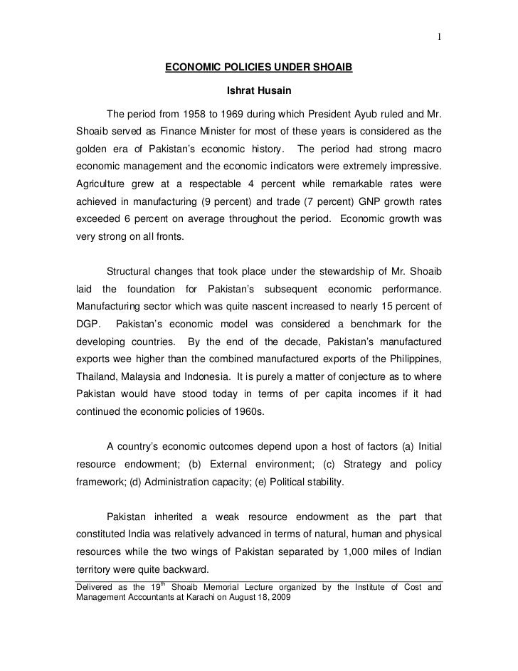 1                     ECONOMIC POLICIES UNDER SHOAIB                                       Ishrat Husain       The period ...
