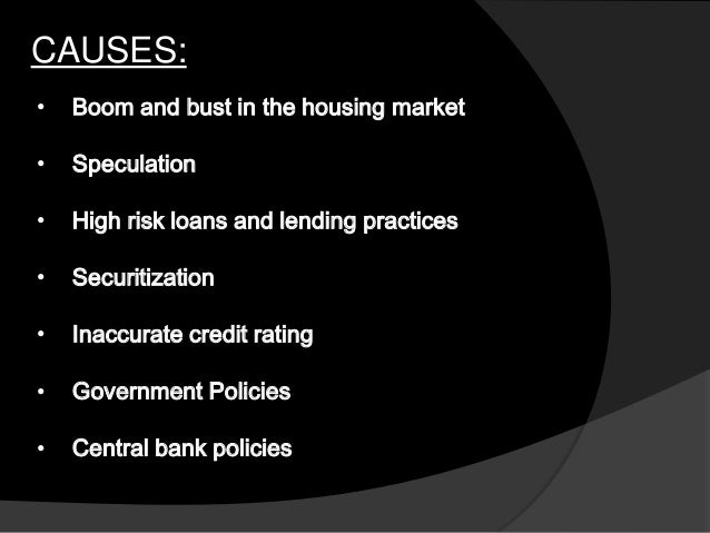 the causes for us economic crisis 3 1 introduction the global financial crisis of 2007 has cast its long shadow on the economic fortunes of many countries, resulting in what has often been called the 'great recession'1 what started as seemingly isolated turbulence in the sub-prime segment of the us housing market mutated.
