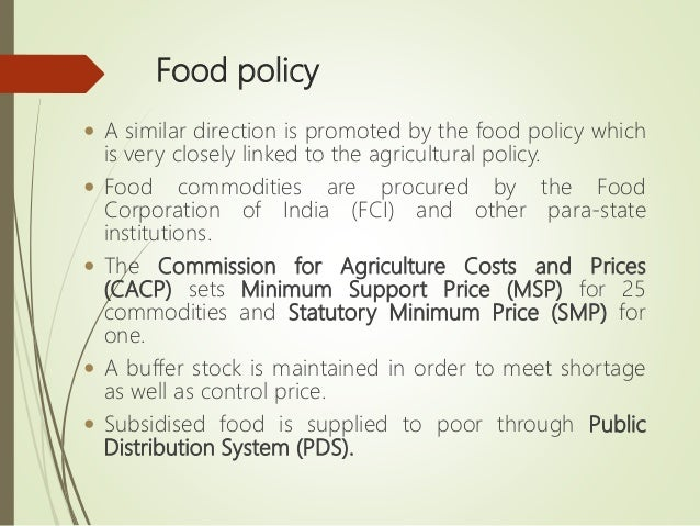 role of agricultural policies in responding to food security