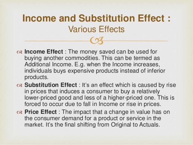 substitution and income effect of a We have seen that a change in price exerts both an income effect and a  substitution effect and that these may work with each other, as in the case of  normal.