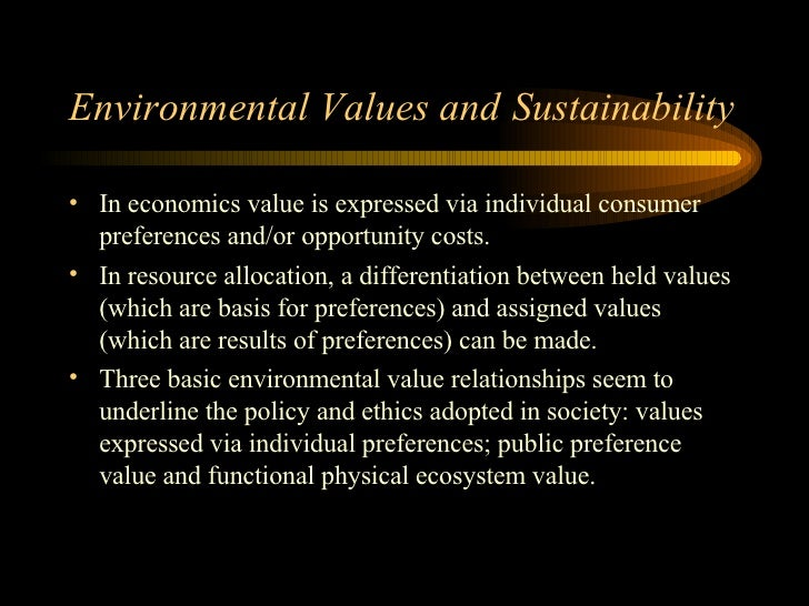Economic sustainability and allocation