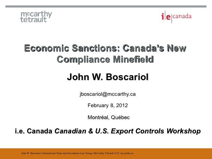 Economic Sanctions - The New Compliance Minefield - J. Boscariol