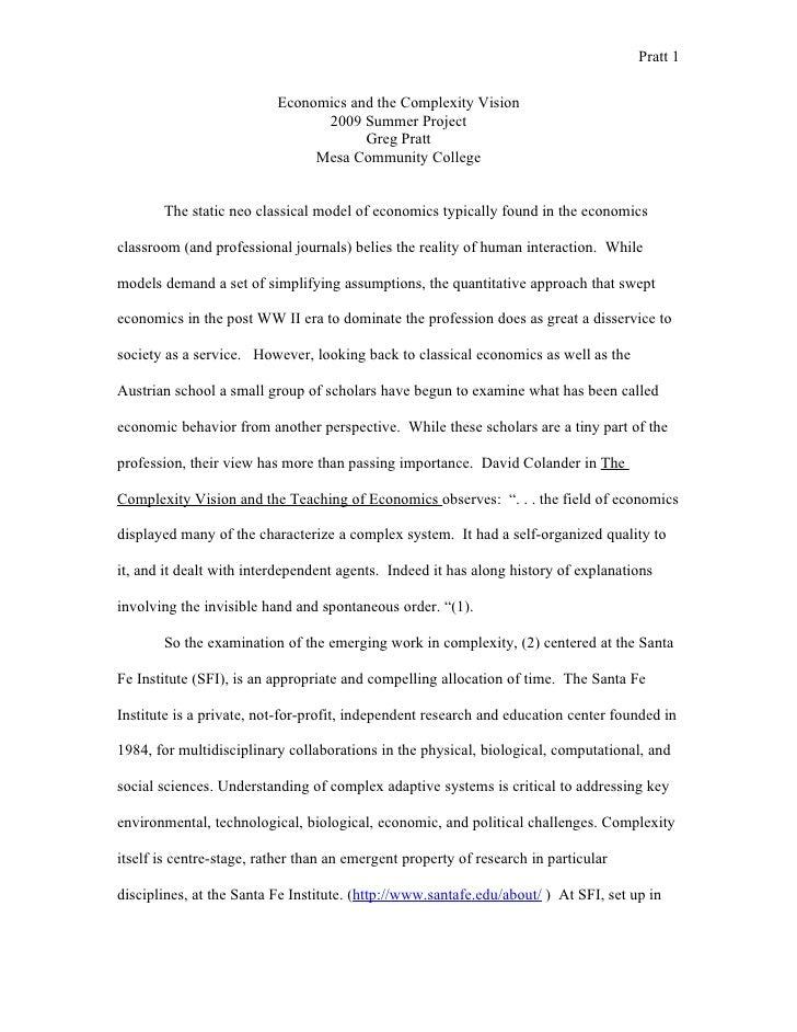 Pratt 1                             Economics and the Complexity Vision                                 2009 Summer Projec...