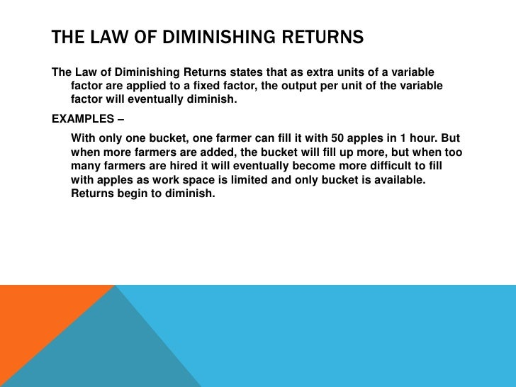 understanding the law of diminishing returns in economics The law of diminishing returns indicates that the ratio of input and output is not constant to understand what managerial economics looks like in practice.