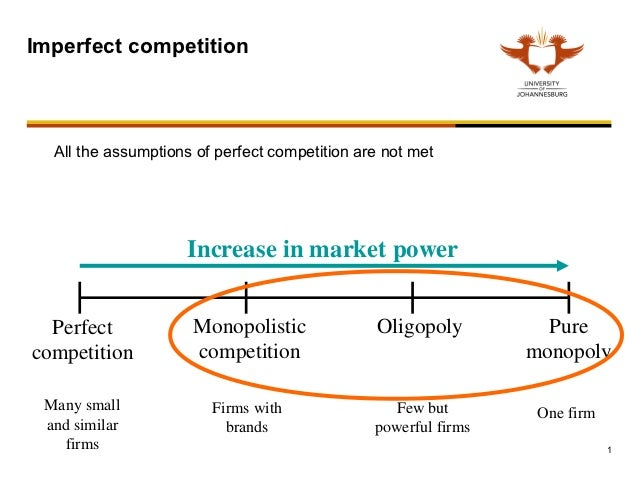 Imperfect competition  All the assumptions of perfect competition are not met                    Increase in market power ...