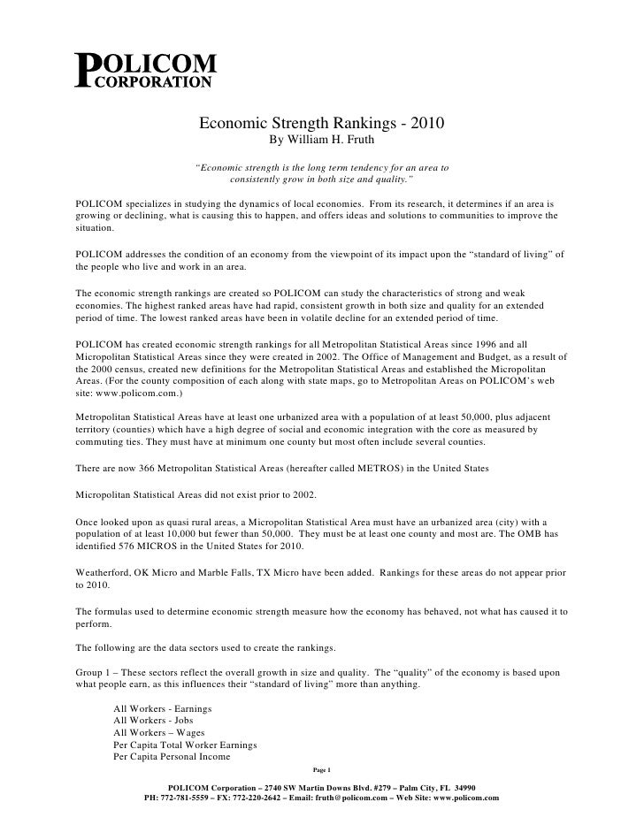 Economic Strength Rankings - 2010                                                By William H. Fruth                      ...