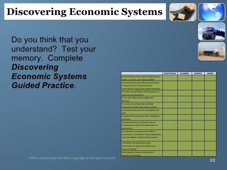 <ul><li>Do you think that you understand?  Test your memory.  Complete  Discovering Economic Systems Guided Practice . </l...