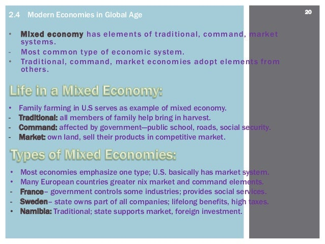characteristics of traditional command and market economic system Command economy is the economy where all economic decisions and details are planned by an authority assigned by the central government this is the opposite of free market economy just like with free market economy, there are advantages and disadvantages of command economy.