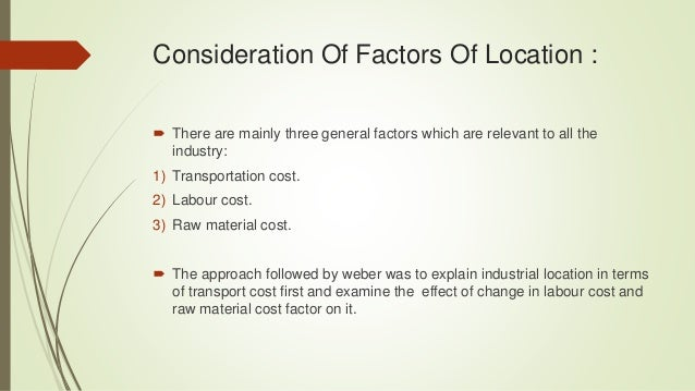 weber theory of industrial location pdf