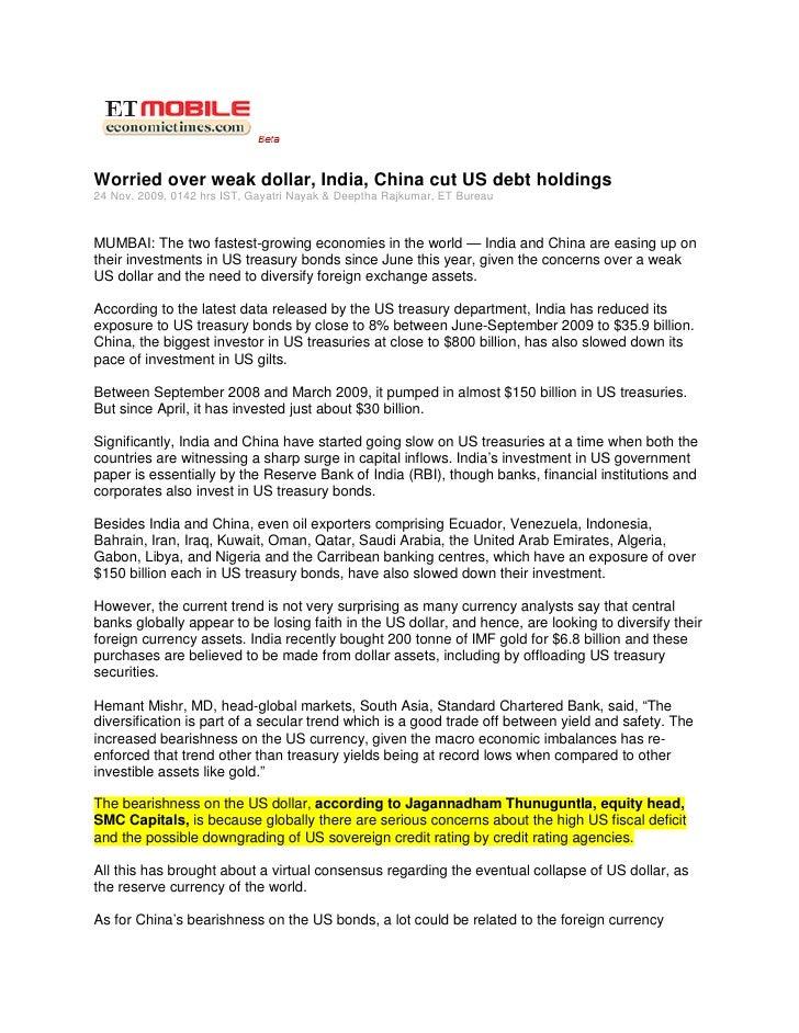 Economic Times Mobile Nov 25, 2009 Worried Over Weak Dollar