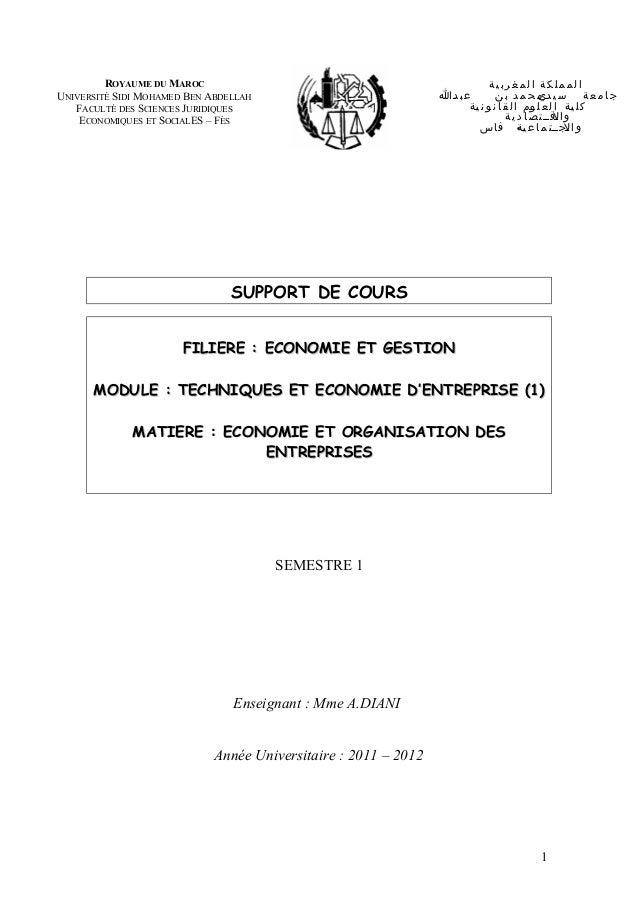 SUPPORT DE COURS FILIEREFILIERE : ECONOMIE ET GESTION: ECONOMIE ET GESTION MODULEMODULE : TECHNIQUES ET ECONOMIE D'ENTREPR...