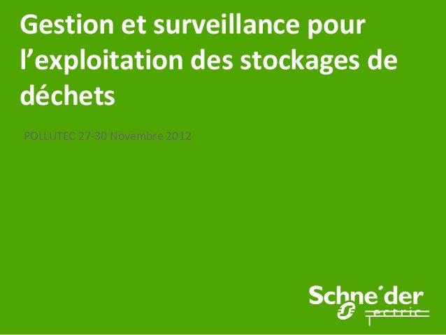 Gestion et surveillance pourl'exploitation des stockages dedéchetsPOLLUTEC 27-30 Novembre 2012