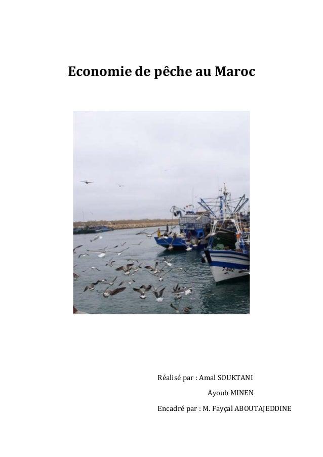 Economie de pêche au Maroc            Réalisé par : Amal SOUKTANI                          Ayoub MINEN            Encadré ...