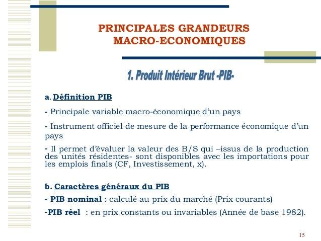 Economie generale du maroc novembre 2009 for Definition du produit interieur brut