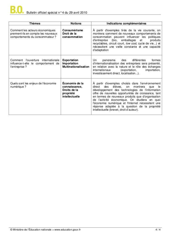 Bulletin officiel spécial n° 4 du 29 avril 2010                Thèmes                             Notions                 ...