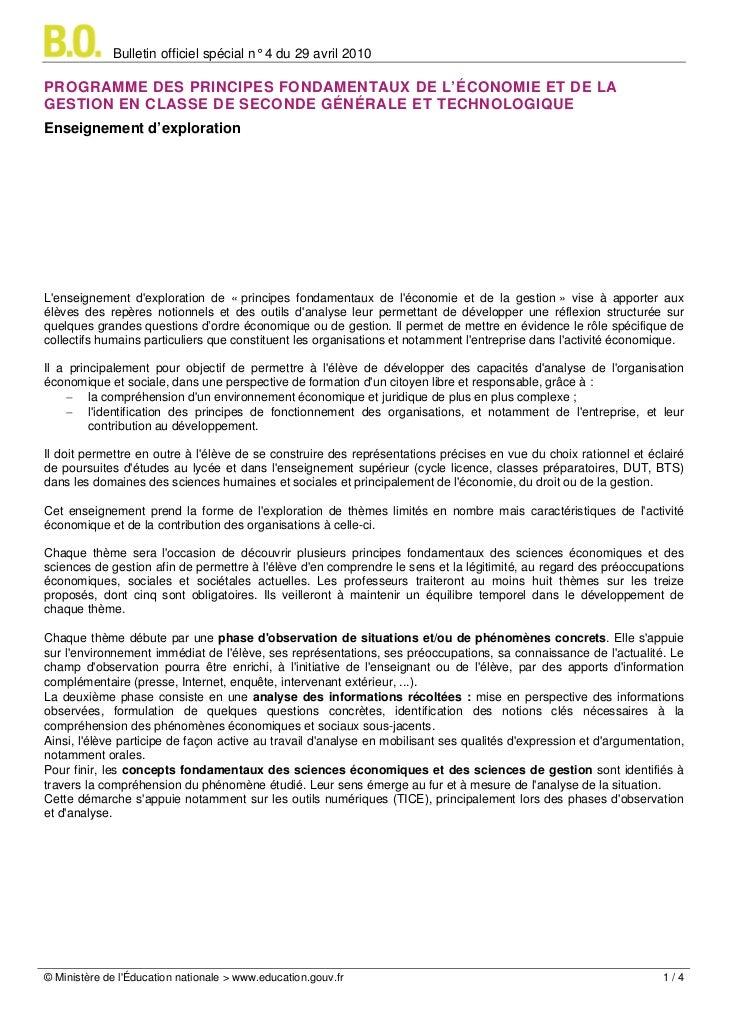 Bulletin officiel spécial n° 4 du 29 avril 2010PROGRAMME DES PRINCIPES FONDAMENTAUX DE L'ÉCONOMIE ET DE LAGESTION EN CLASS...