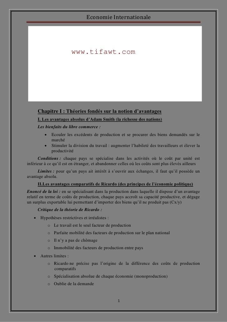 Economie Internationale                          www.tifawt.com      Chapitre I : Théories fondés sur la notion d'avantage...