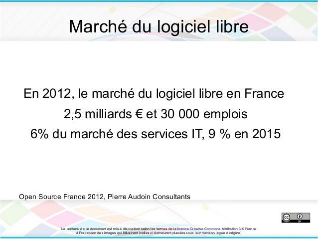 Marché du logiciel libre En 2012, le marché du logiciel libre en France             2,5 milliards € et 30 000 emplois   6%...