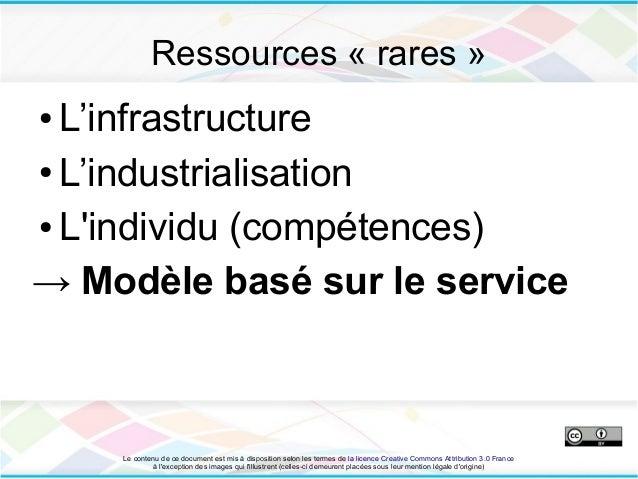Ressources « rares »● L'infrastructure● L'industrialisation● Lindividu (compétences)→ Modèle basé sur le service    Le con...