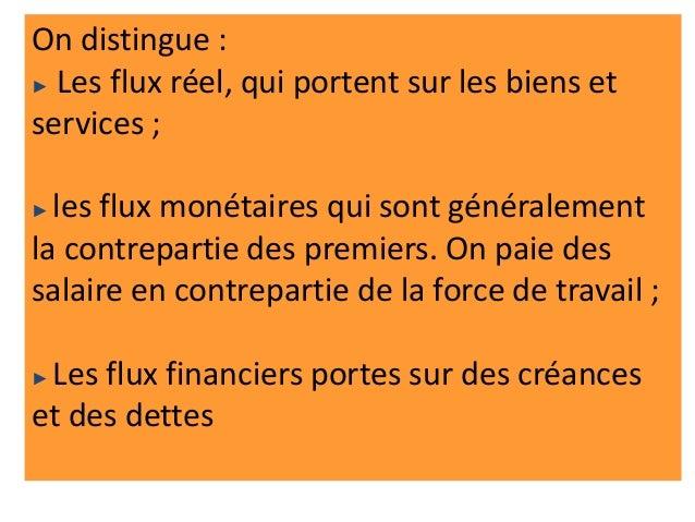 On distingue : ► Les flux réel, qui portent sur les biens et services ; ► les flux monétaires qui sont généralement la con...