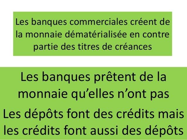 Les banques commerciales créent de la monnaie dématérialisée en contre partie des titres de créances Les banques prêtent d...