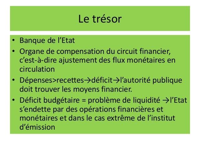 Le trésor • Banque de l'Etat • Organe de compensation du circuit financier, c'est-à-dire ajustement des flux monétaires en...