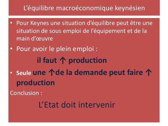 L'équilibre macroéconomique keynésien • Pour Keynes une situation d'équilibre peut être une situation de sous emploi de l'...