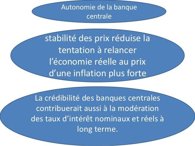 Autonomie de la banque centrale stabilité des prix réduise la tentation à relancer l'économie réelle au prix d'une inflati...