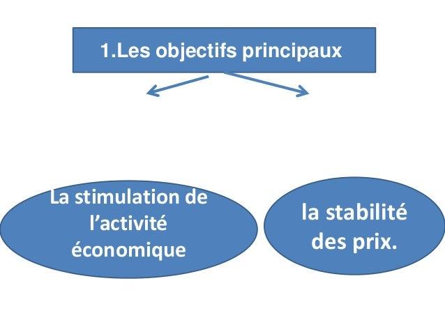 1.Les objectifs principaux La stimulation de l'activité économique la stabilité des prix.