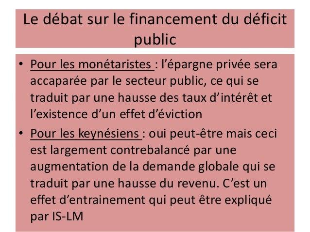 Le débat sur le financement du déficit public • Pour les monétaristes : l'épargne privée sera accaparée par le secteur pub...