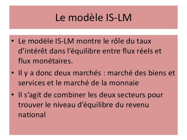 Le modèle IS-LM • Le modèle IS-LM montre le rôle du taux d'intérêt dans l'équilibre entre flux réels et flux monétaires. •...