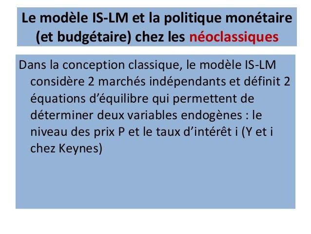 Le modèle IS-LM et la politique monétaire (et budgétaire) chez les néoclassiques • Les encaisses de spéculation Md2 doiven...