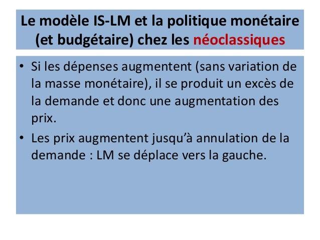 Le modèle IS-LM et la politique monétaire (et budgétaire) chez les néoclassiques • Suite à une variation de la valeur réel...