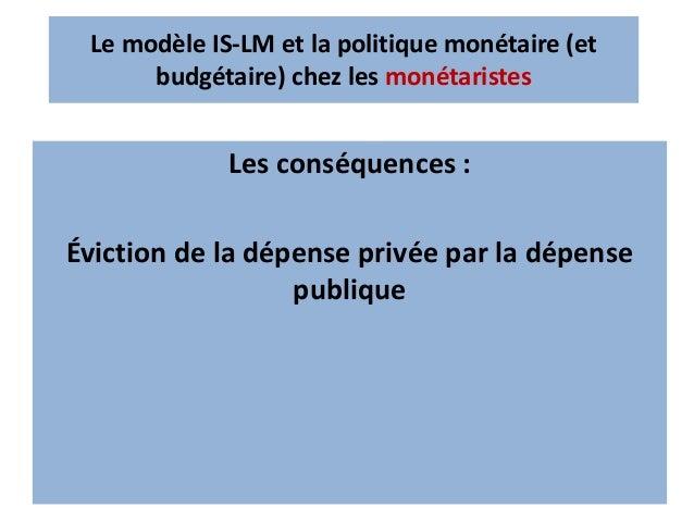 Accroissement de l'offre de monnaie Accroissement de l'offre de monnaie →une baisse du taux d'intérêt → amélioration des d...