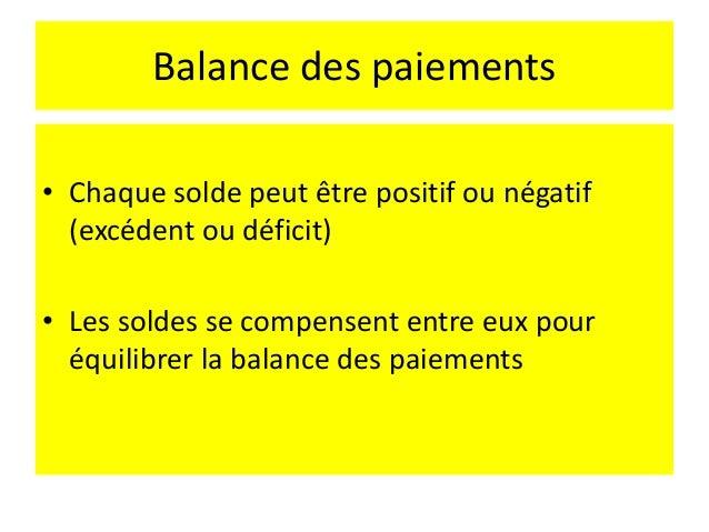 Balance des paiements Le complément du solde de la balance globale = opération financière du secteur bancaire et officiel ...