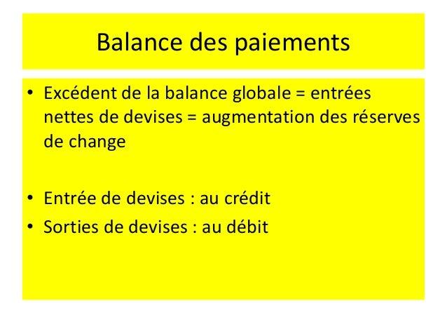 Balance des paiements • Si le solde courant est déficitaire ???