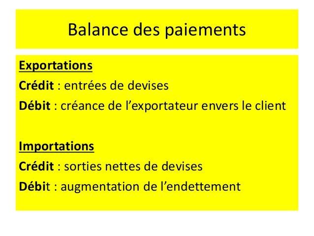 Balance des paiements • On ne peut pas acheter sans payer → on emprunte • Les banques empruntent des devises (entrées de c...