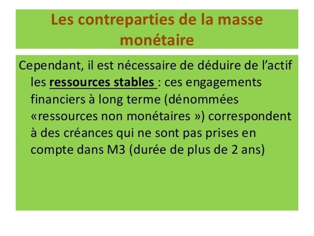 Trois Types de Les créances ❶Créances sur l'extérieur ❷Créances sur l'Etat ❸Créances sur l'économie Les contreparties de l...
