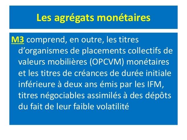 Les agrégats monétaires M3 comprend, en outre, les titres d'organismes de placements collectifs de valeurs mobilières (OPC...