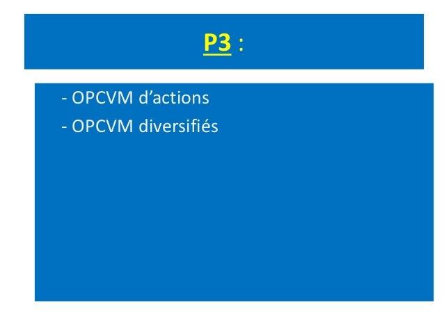 P3 : - OPCVM d'actions - OPCVM diversifiés