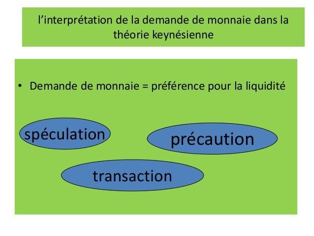 l'interprétation de la demande de monnaie dans la théorie keynésienne • Demande de monnaie = préférence pour la liquidité ...
