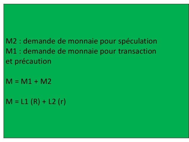 M2 : demande de monnaie pour spéculation M1 : demande de monnaie pour transaction et précaution M = M1 + M2 M = L1 (R) + L...