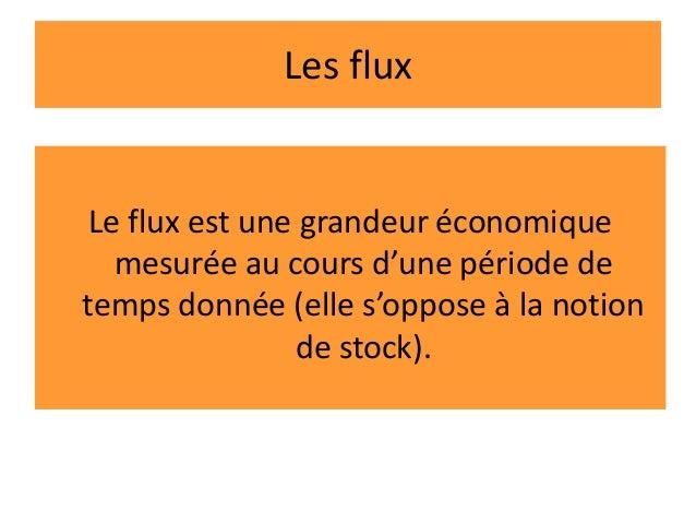 Les flux Le flux est une grandeur économique mesurée au cours d'une période de temps donnée (elle s'oppose à la notion de ...