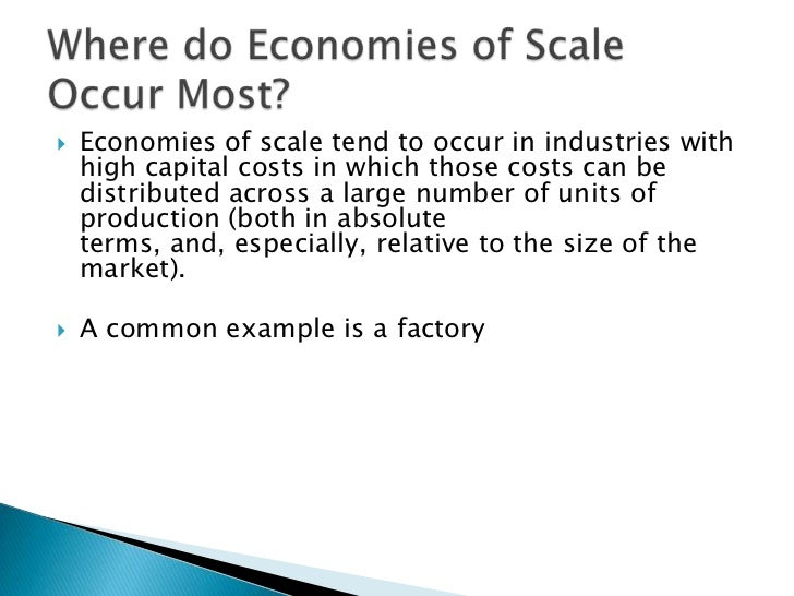 economies diseconomies of scale Economies of scale is an economics term that describes a competitive advantage that large entities have over smaller entities it means that the larger the business, non-profit or government, the lower its costs for example, the cost of producing one unit is less when many units are produced at .